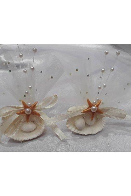 Büşra Süsleme Yıldızlı Deniz Kabuklu Nikah Şekeri 50 Li Gold