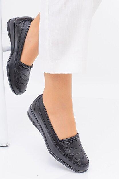 MelikaWalker Full Comfort Ortopedik Taban Bayan Ince Çizgili Siyah Anne Ayakkabısı
