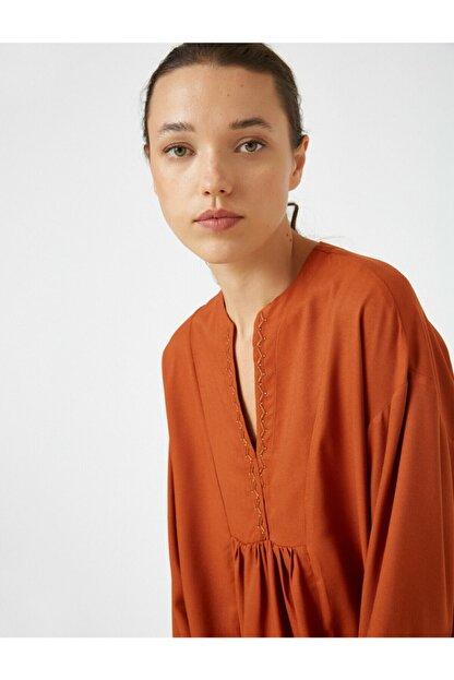 Koton Kadın V Yaka Uzun Kollu Bluz