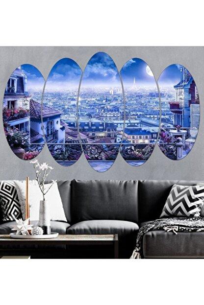 hanhomeart Paris Gece Manzarası Eyfel Kulesi Parçalı Ahşap Duvar Tablo Seti