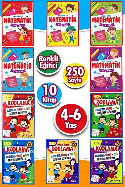 Ya-Pa Yayınları 4 - 5 - 6 Yaş Matematik & Kodlama Çalışması Etkinlik Seti 10 Kitap