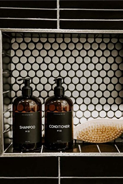 LYN HOME & DECOR Amber Banyo Için Siyah Etiketli Şişe 250 ml 2'li