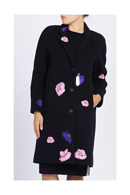 Christopher Kane Çiçek Detaylı Lacivert Palto