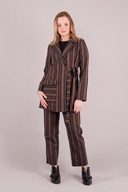 TRİOMODA Kimono Çizgili Takım Kiremit