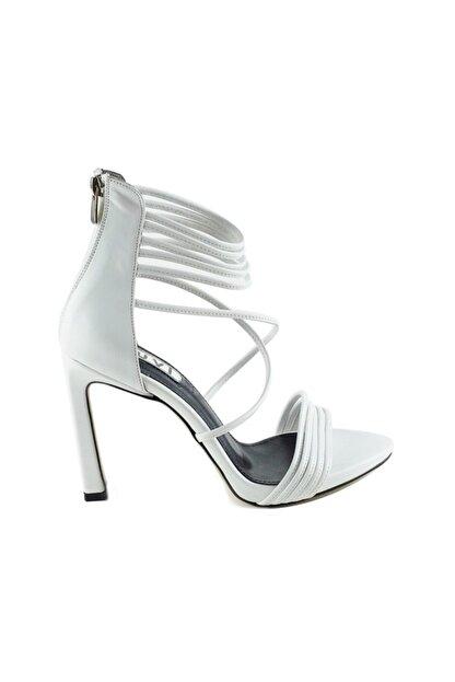 LuviShoes 115 Beyaz Cilt Kadın Topuklu Ayakkabı