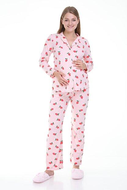 MYRA by LuvmaBelly Luvmabelly Myra9531 Düğmeli Biyeli Hamile Pijama Takımı - Pembe