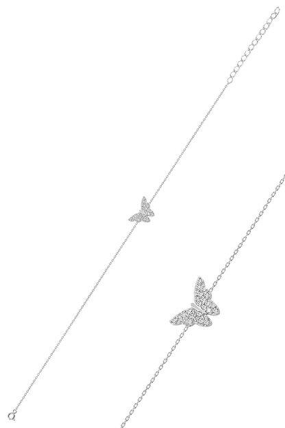 Söğütlü Silver Gümüş Rodyumlu Kelebek Bileklik