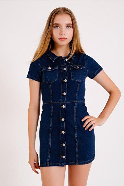 Viola Black Jeans Kadın Koyu Mavi Kısa Kol Kot Elbise