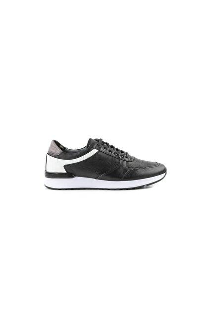 MARCOMEN Siyah Hakiki Deri Bağcıklı Sneaker