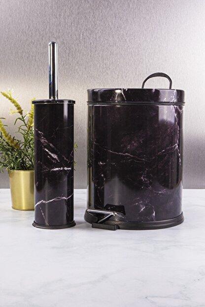vipgross Vıpgross 2 Li Metal Banyo Seti Mermer Desen 974-5