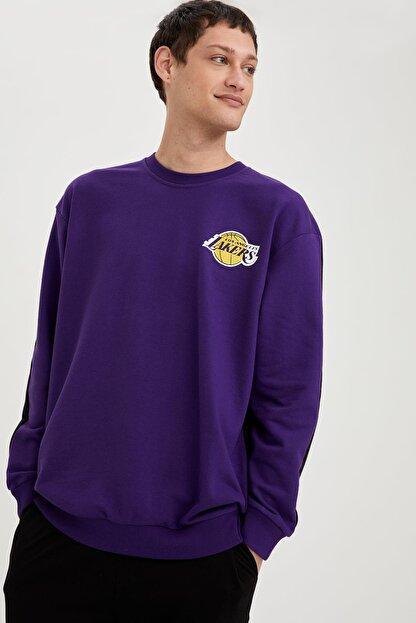 Defacto Erkek Dark Purple Nba Lisanslı Oversize Fit Unisex Bisiklet Yaka Sweatshirt S9213AZ21SP