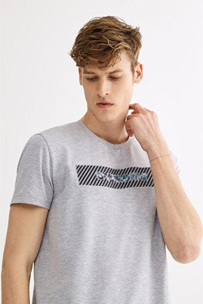 Avva Erkek Gri V Yaka Gofre Baskılı T-shirt A01y1024
