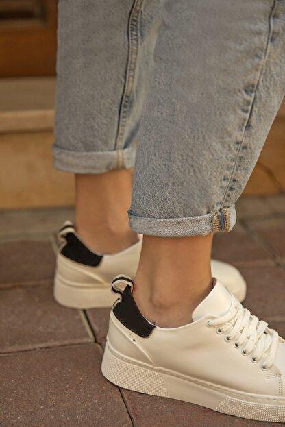 Straswans Papel Bayan Deri Spor Ayakkabı Beyaz-siyah
