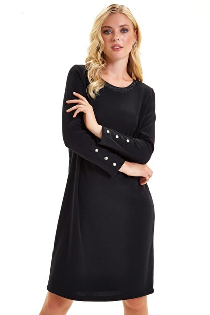İkiler Yakası Trikobantlı Kolu Çıtçıtlı Jorjet Elbise 201-2501