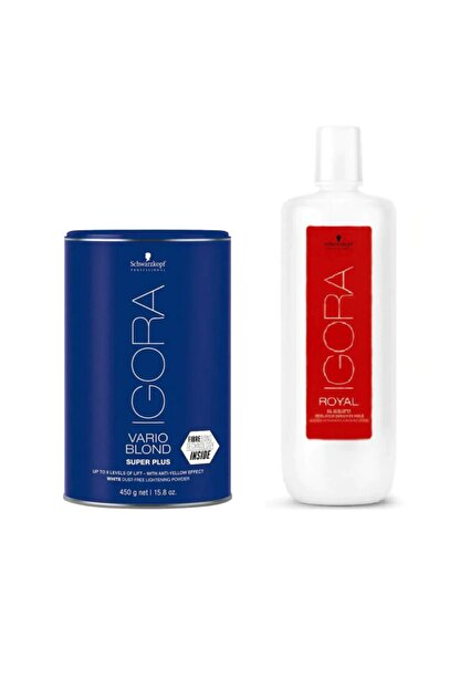 Igora Vario Blond Super Plus Beyaz Acıcı 450 gr + Igora Krem Oksidan %3 10v 1000ml