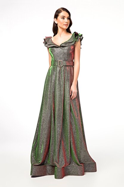 Abiye Sarayı Yeşil Kemer Detaylı Kolları Volanlı Uzun Abiye Elbise