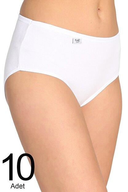 Tutku Kadın Beyaz 10'lu Paket Likralı Bato Külot Elf568t0924ccm10