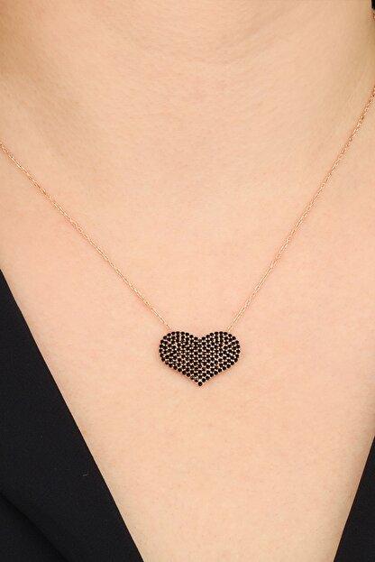 passion silver Kadın 925 Ayar Gümüş Siyah Taşlı Kalp Kolye