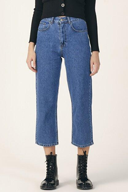 its basic Kadın Mavi Renk Wide Leg Kalıp Yüksek Bel Jean