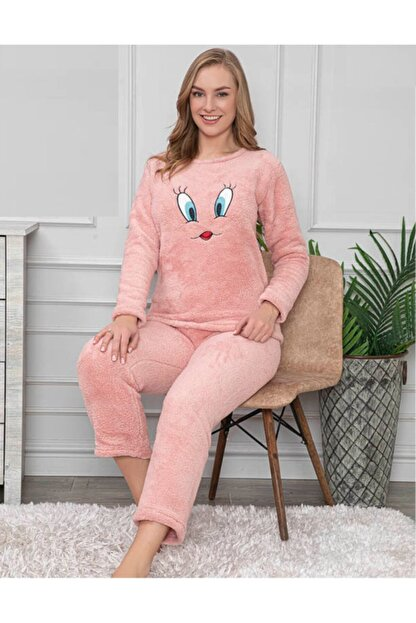 Pijamanya Kadın Pembe Welsoft Pijama Takımı
