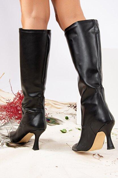Fox Shoes Siyah Suni Deri Kadın Çizme J572463309