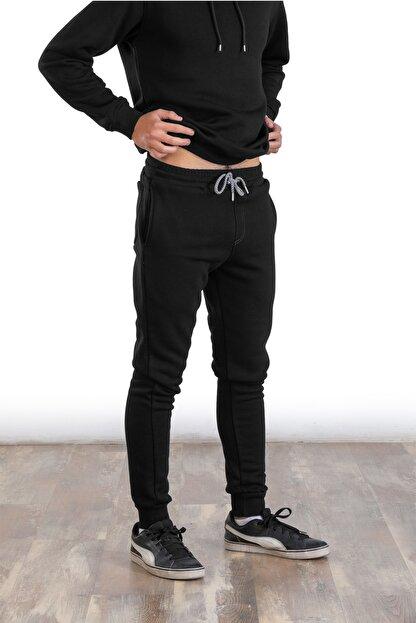 Raf Coll Erkek Tek Alt Siyah Üç Iplik Paçası Manşetli