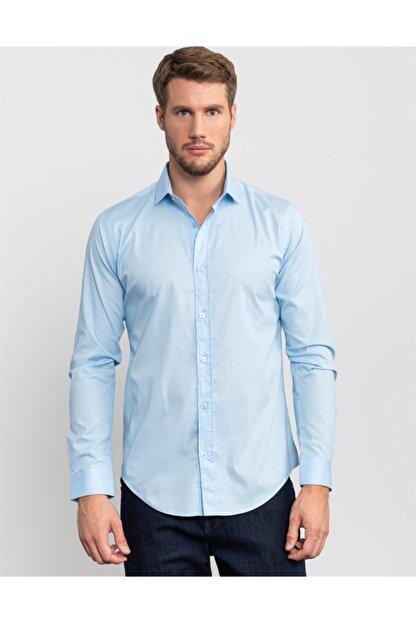 Tudors Slim Fit Likralı Açık Mavi Gömlek