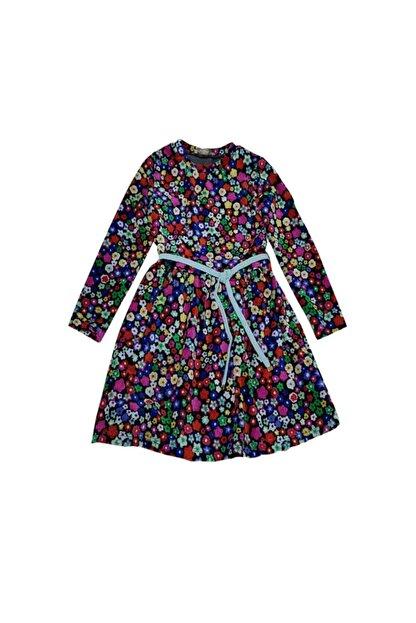 feyzamavm Renkli Desenli Bağcıklı Kadife Kız Çocuk Elbise