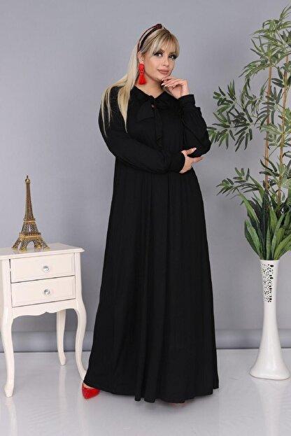 Şirin Butik Kadın Büyük Beden Siyah Renk Kravat Yaka Detaylı Viskon Elbise