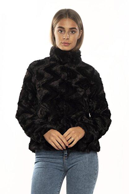 Vero Moda Kadın Siyah Dik Yaka Kısa Kürk 10194645