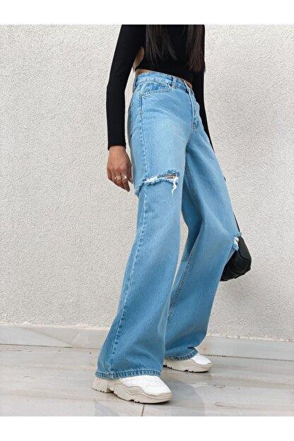 PurpuraVioleta Yanları Kesik Detay Bol Paça Jean