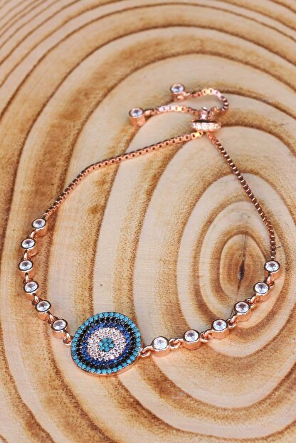 Artuklu Telkari Gümüş Rose Kaplama Nazar Boncuğu Ayrıntılı Full Zirkon Taşlı Kadın Asansörlü Bileklik
