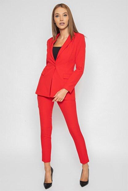 1DEN2YE Yandan Cepli Pantolon Kırmızı