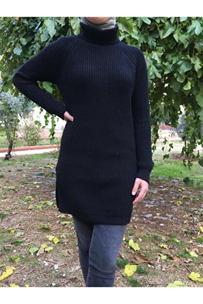 Hatiç Store Kadın Siyah Renk Boğazlı Tesettür Triko Tunik & Kazak