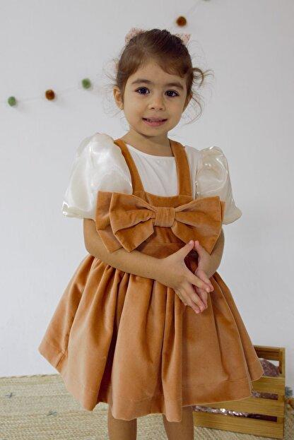 Happy & Mini Rosa Kadife Elbise Soft Pembe