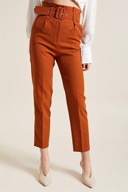 Z GİYİM Kadın Taba Kemerli Yüksek Bel Kumaş Pantolon