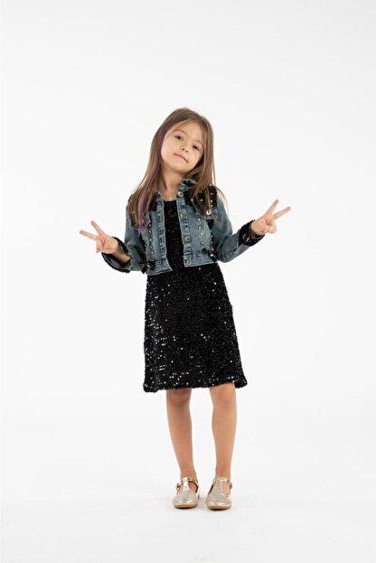 Minik Dolap Kız Çocuk Siyah Kot Ceketli Payetli Elbise