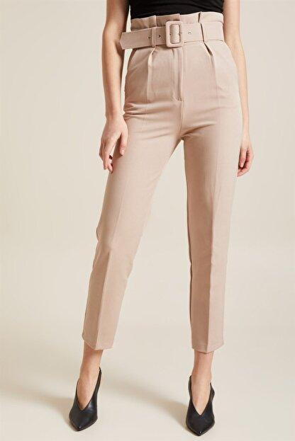 Z GİYİM Kadın Taş Kemerli Yüksek Bel Kumaş Pantolon