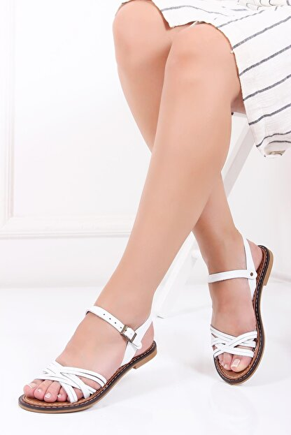 Deripabuc Hakiki Deri Beyaz Kadın Deri Sandalet Dp28-0830