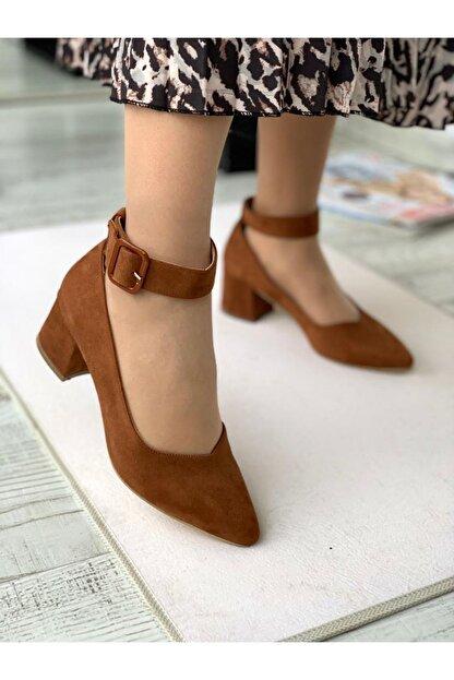 LDÇ Bilekten Kemer Detaylı Kadın Topuklu Ayakkabı-s. Taba