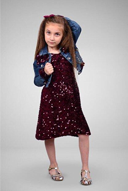 Tivido Kız Çocuk Bordo Kot Ceketli Payetli Elbise