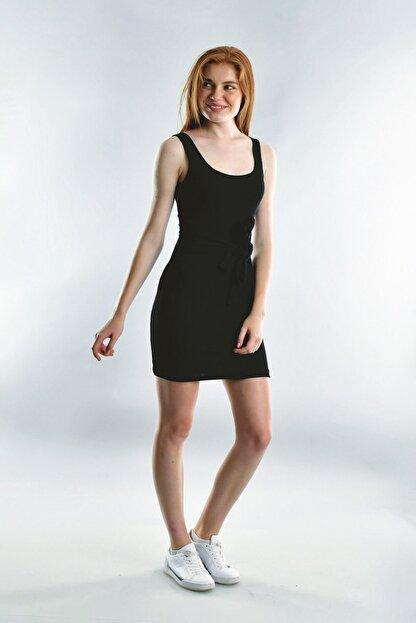 Cotton Mood 20072003 Kaşkorse Askılı Beli Bağlamalı Elbise Sıyah