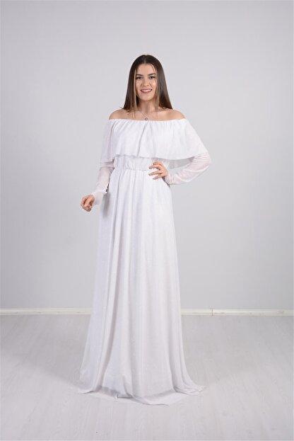 giyimmasalı Tül Üzeri Simli Abiye Elbise - Beyaz