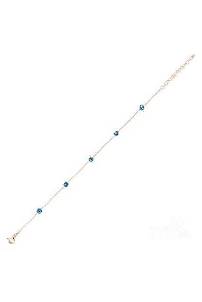 XSilver Kadın Nazar Boncuğu Sıra Taşlı Rose (Pembe) Rengi Gümüş Bileklik