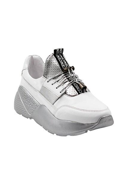 Abbondare Hakiki Deri Beyaz-gri Kadın Spor Ayakkabı-sneaker