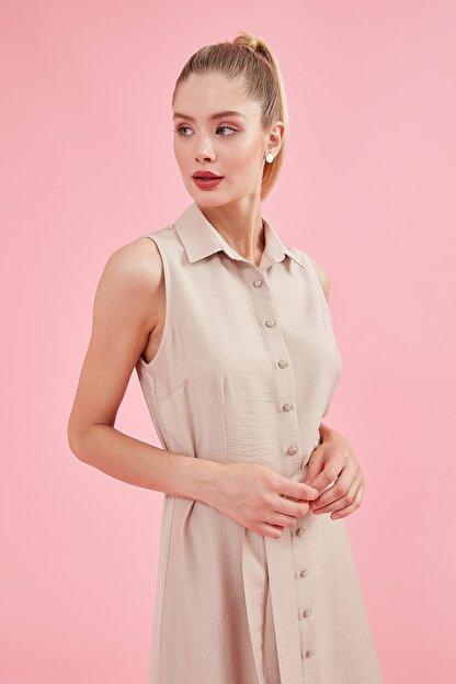 Journey Elbise Polo Yaka, Ön Komple Düğme, Belden Kuşak Detaylı, Kolsuz