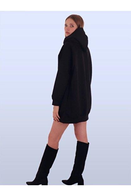 TİLLE Kadın Siyah Kapüşonlu Oversize Sweat