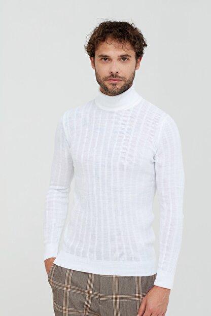 Tarz Cool Beyaz Çizgili Boğazlı Triko Kazak- Tarz1676r04s