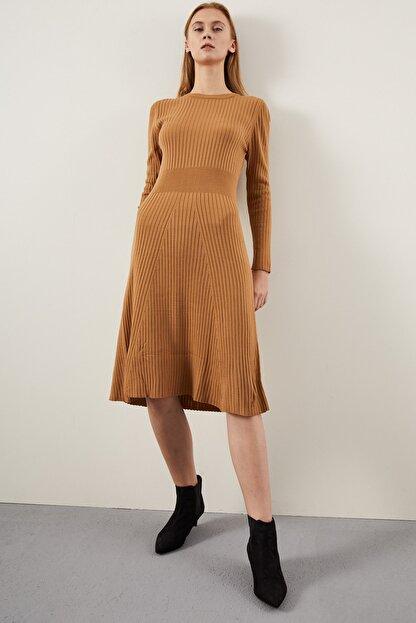 Tena Moda Kadın Bisküvi Fitilli Çan Uzun Elbise