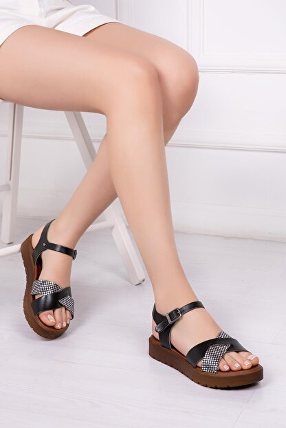 Deripabuc Hakiki Deri Siyah X3 Kadın Deri Sandalet Dp-1079